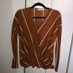 Lulu's Long Sleeve Rustic Striped Blouse